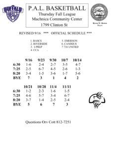 HS Fall Basketball League @ Machnica Community Center