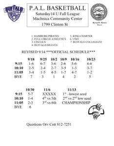 14U Fall Basketball League @ Machnica Community Center